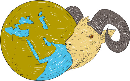 bighorn: Drawing sketch style illustration of a ram head looking to the side with globe map showing middle east.
