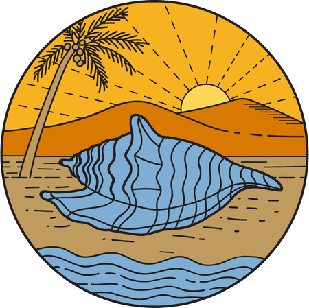 Mono line style illustration foa conch shell laying on beach with mountain, sun and coconut tree in the background set inside circle.