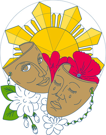Mono line style illustration showing a drama theater mask with hibiscus or rose mallow and arabian jasmine, Jasminum sambac or sampaguita and Philippine sun in background.