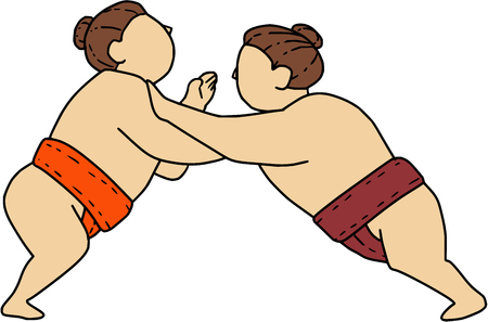 Mono line style illustration of a Japanese rikishi or wrestler, engaging in a match bout of Sumo or sumo wrestling, competitive full-contact wrestling sport pushing viewed from the side set on isolated white background. Иллюстрация