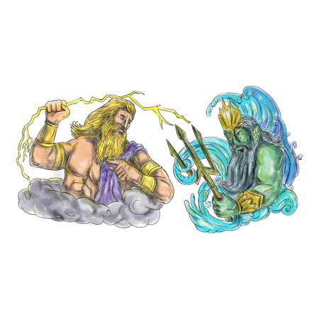 Tattoo style illustration of Zeus, Greek god of the sky and ruler of the Olympian gods wielding holding a thunderbolt lightning versus poseidon holding trident surrounded by waves viewed from the side set on isolated white background. Stock Photo
