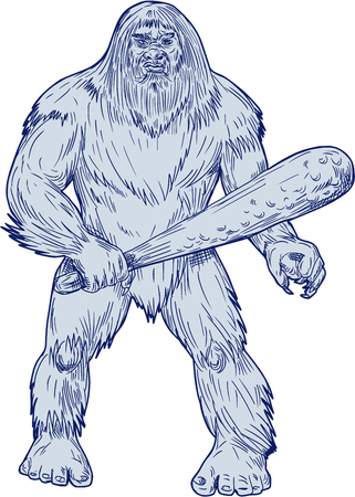 Drawing sketch style illustration of a Bigfoot or Sasquatch, a simian-like creature of American folklore that  inhabit forests, usually described as a large, hairy, bipedal humanoid standing holding club viewed from front set on isolated white background.