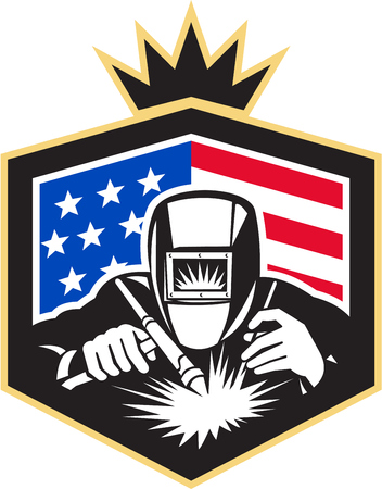 Illustration of welder arc welding viewed from front set inside shield with usa american stars and stripes flag in the background done in retro style.