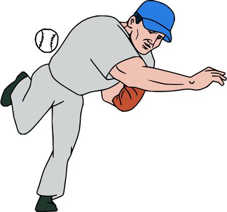 만화 스타일에서 수행하는 격리 된 흰색 배경에 설정하는 프런트에서 볼 볼을 던지고 미국 야구 선수 투 수 outfilelder의 그림.