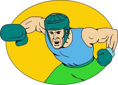 Drawing sketch style illustration of an amateur boxer wearing headgear hitting a knockout punch viewed from front set inside oval shape.