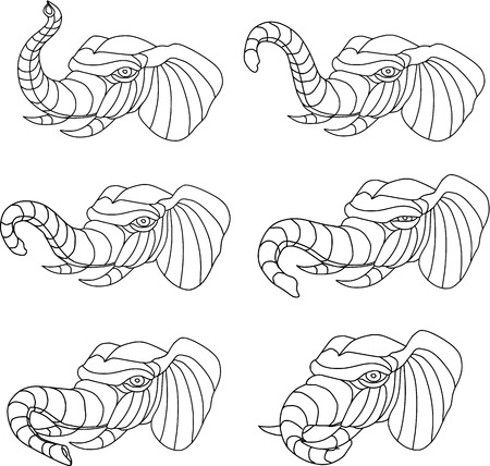 Collection set of illustrations of an elephant head playing with trunk viewed in different movements done in mono line style.