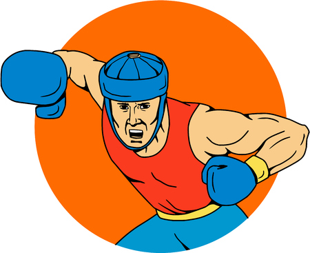 Drawing sketch style illustration of an amateur boxer wearing headgear hitting an overhead punch viewed from front set inside circle shape. Çizim