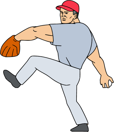 outfielder: Illustration of an american baseball player pitcher outfilelder ready to throw ball set on isolated white background done in cartoon style.