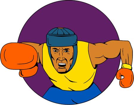 Dessin dessin d'une illustration de style d'un boxeur amateur portant des poinçons de coiffure vu de l'avant dans un cercle intérieur. Banque d'images - 78830468