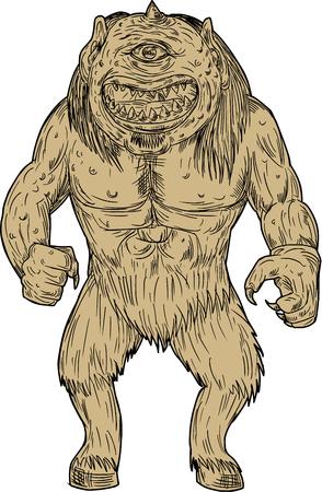 Tekening schetsstijl illustratie van een cyclops, een lid van een oerwoudse race van reuzen, met een enkel oog in het midden van zijn voorhoofd in de Griekse en Romeinse mythologie die van voorzijde op geïsoleerde witte achtergrond wordt gezien.