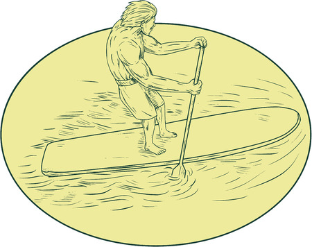 Drawing sketch style illustration of a surfer dude on a stand up paddle board holding oar paddling set inside oval shape viewed from top angle.