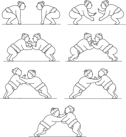 Collection set of illustrations of a Japanese rikishi or wrestler, engaging in a match bout of Sumo or sumo wrestling, competitive full-contact wrestling sport viewed in different movements done in mono line style.