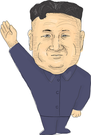 Watercolor style illustration of Kim Jong-un, Chairman of the Workers Party of Korea (WPK) and supreme leader of the Democratic Peoples Republic of Korea (DPRK), or North Korea done in cartoon caricature style.