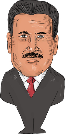 Watercolor style illustration of Nicolas Maduro, President of Venezuela viewed from front set on isolated white background done in cartoon caricature style. Editorial