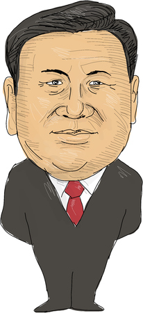 Watercolor style illustration of Xi Jinping, President of China viewed from front set on isolated white background done in cartoon caricature style.