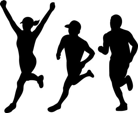 孤立した背景に仕上げレース優勝を実行する男性と女性のマラソン トライアスロン ランナーのシルエットのイラストのコレクション セットです。