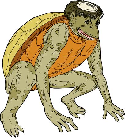 カッパ、kawataro、komahiki、または kawatora のスケッチ スタイルのイラストを描く、妖怪悪魔または imp は、伝統的な民俗ヒューマノイド カメしゃがみ