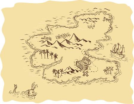 Tekening schets stijl illustratie van een piraat schatkaart met een schatkist met x de sport en zeilen schip en zeeslang op de achtergrond.