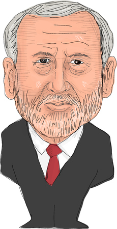 mp: June 2, 2017: Watercolor style illustration of Jeremy Corbyn, MP and Labour Party Leader of the United Kingdom viewed from front set on isolated white background done in cartoon caricature style. Editorial