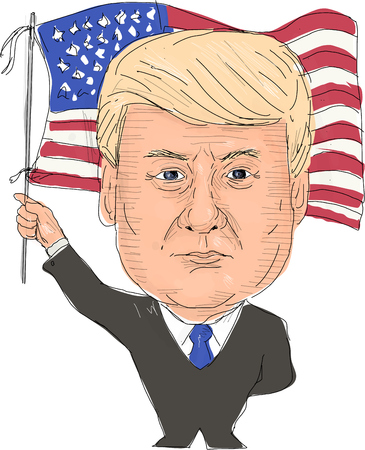 statesman: June 2, 2017: Watercolor style illustration of Donald Trump, President of the United States of America waving flag viewed from front set on isolated white background done in cartoon caricature style.