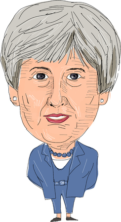 June 8, 2017: Watercolor style illustration of Theresa May, Prime Minister of the United Kingdom viewed from front set on isolated white background done in cartoon caricature style.