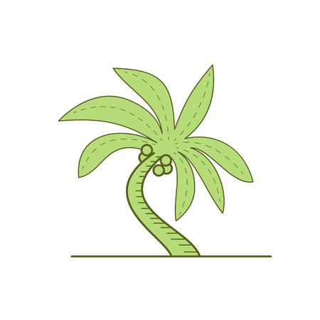湾曲したヤシの木やヤシ、開花植物のモノラル ライン スタイル イラスト Arecales on 単子葉の順序で家族はホワイト バック グラウンドを分離しまし  イラスト・ベクター素材