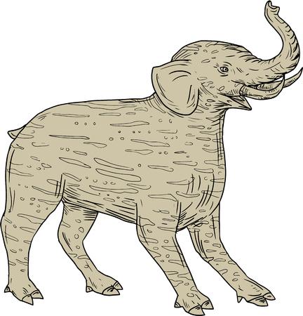 바쿠, 중국 및 일본어의 스케치 스타일 그림 드로잉 elephantine 엄 니와 트렁크와 격리 된 흰색 배경에 설정 측면에서 볼 스트라이프 모피와 민속 맥처럼