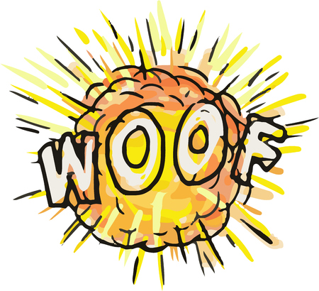Illustration of an explosion and the word text WOOF set on isolated white background done in cartoon style. Stok Fotoğraf - 80342300