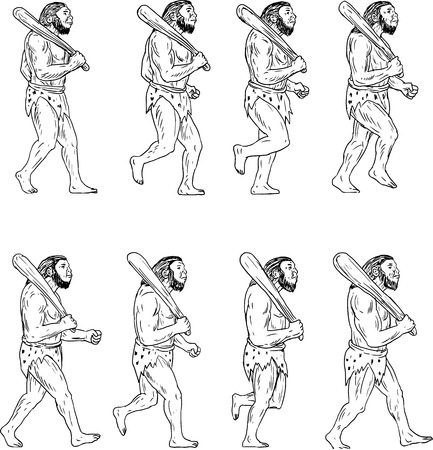 Collection set of illustrations of a neanderthal man or caveman holding a club on shoulder walking showing a walk cycle viewed from the side.