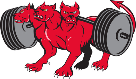 Illustration of cerberus, in Greek and Roman mythology, a multi-headed usually three-headed dog, or hellhound with a serpents tail, a mane of snakes lions claws powerlifting barbell done in cartoon style .