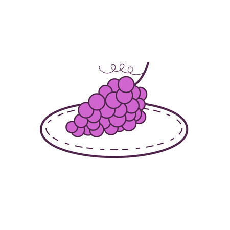 Mono line style illustration of a bunch of grapes on a plate set on isolated white background.