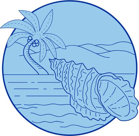 巨大なカエル カタツムリ、巨大なカエルのシェルまたは Tutufa 横痃、非常に大きな海カタツムリ、Bursidae のレトロなスタイルで行うバック グラウン