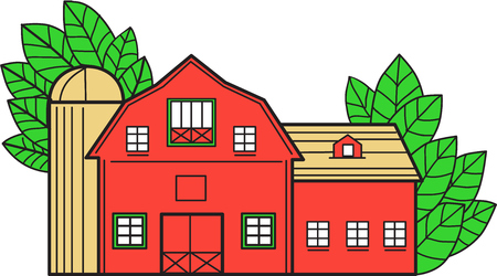 Mono line style illustration of a vintage american barn with leaves in the background set on isolated white background. Иллюстрация