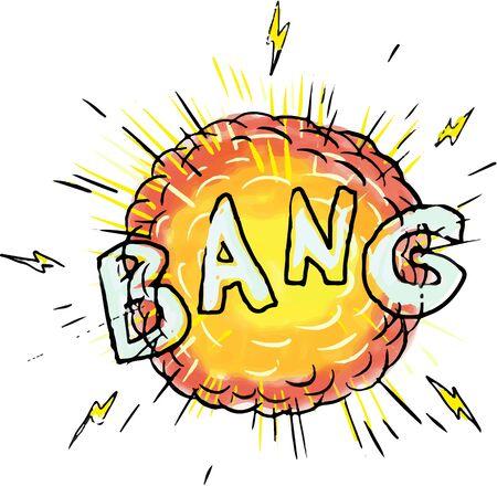 Illustratie van een explosie en de klap van de woordtekst op geïsoleerde witte die achtergrond wordt geplaatst in beeldverhaalstijl wordt gedaan.