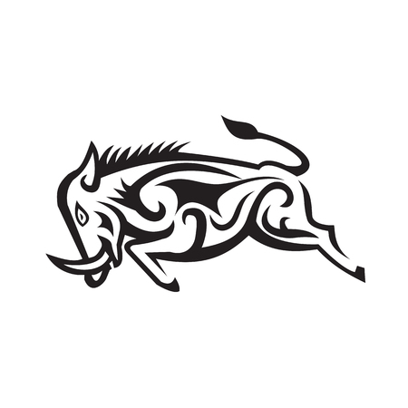 Illustration of a Wild Boar Charging viewed side done Tribal Art style.