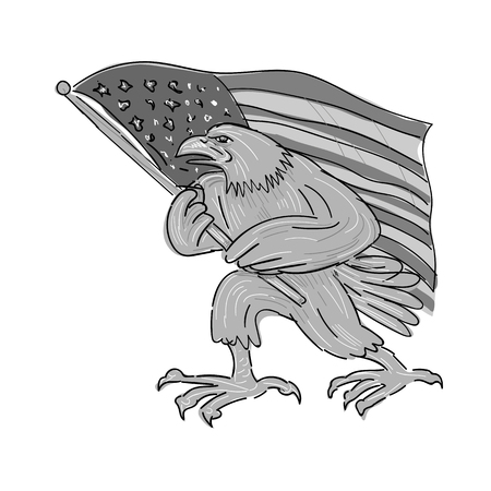 Illustration of an American Bald Eagle Waving USA stars and stripes Flag done in Cartoon style.
