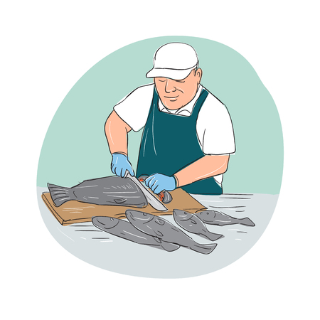 Cartoon illustration showing a Fishmonger Cutting Fish with knife viewed from front set inside oval shape. Illustration