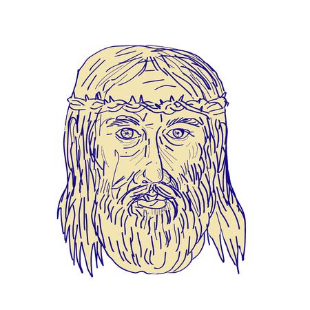 Die Illustration von Jesus Christ Face, der Dornenkrone trug, betrachtete die Front, die in der Zeichnungsskizzenart erfolgt war. Standard-Bild - 81570739
