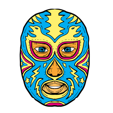 Illustration of a Luchador Mask with Eagle, Star and Lightning Bolt viewed from front done in Drawing hand-sketched style on isolated background Иллюстрация