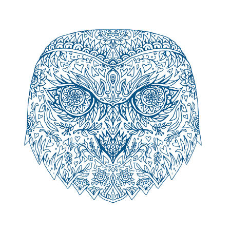 Illustration of head of Snowy Owl done in hand-sketched drawing style Mandala.