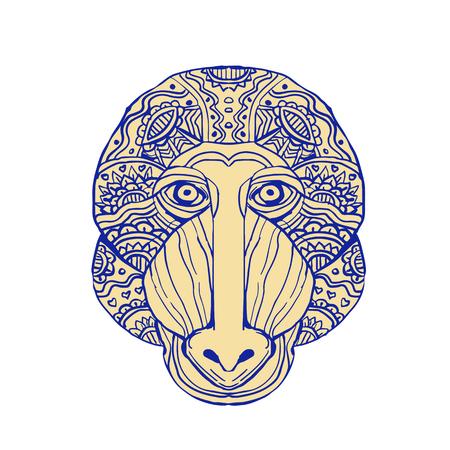 手作業スケッチ図面マンダラ スタイル マンドリル頭フロント ビューのイラスト。