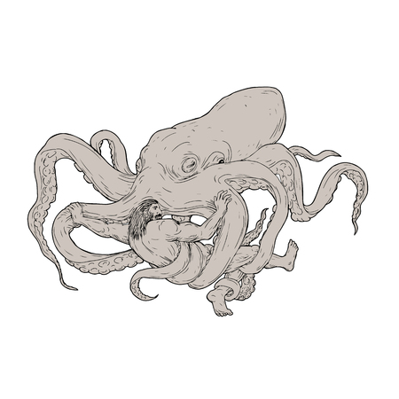 Illustration of Hercules Fighting a Giant Octopus done in hand sketch Drawing style on isolated background. Illustration