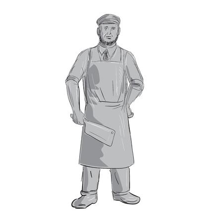 肉切り大包丁ナイフ立ってフロント ビューを保持ヴィンテージ肉屋のイラストは手で行う描画スタイルをスケッチします。  イラスト・ベクター素材