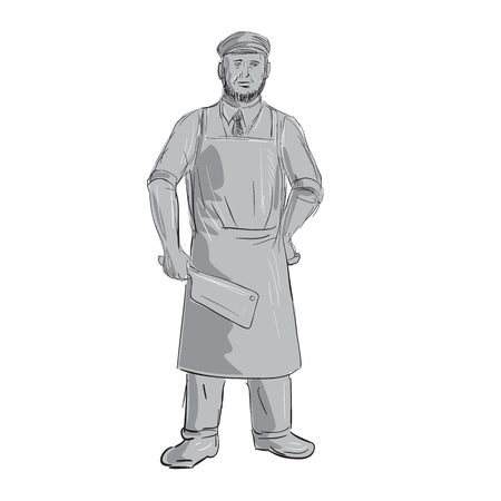 Illustration of a Vintage Butcher holding Meat Cleaver knife Standing front view done in hand sketch Drawing style. Çizim