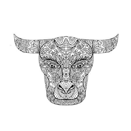 Illustratie van een Taurus Bull hoofd Mandala gedaan in het tekenen van schets stijl. Stock Illustratie