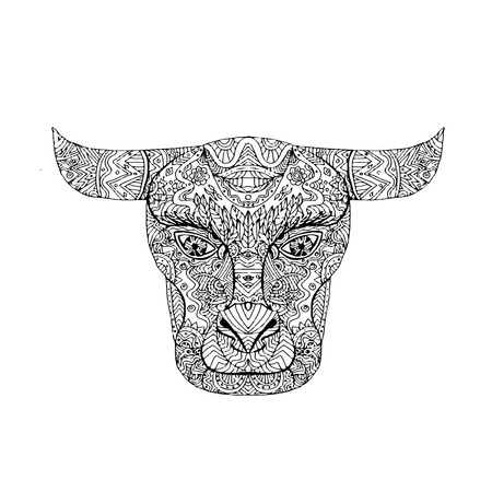 Illustration of a Taurus Bull Head Mandala done in drawing sketch style.