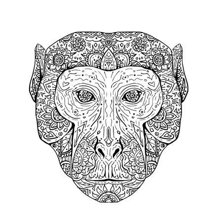 アカゲザル サル頭のイラストは、手作業スケッチ図面マンダラ スタイル フロントから見た。