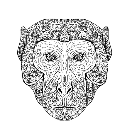 Illustration of a Rhesus Macaque Head viewed from Front done in hand sketch drawing Mandala style.