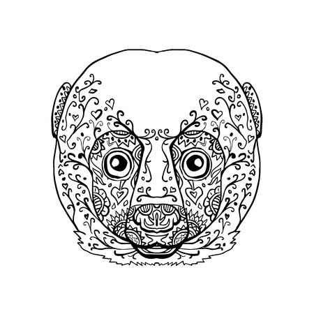 曼荼羅様式のキツネザル頭正面のイラスト。