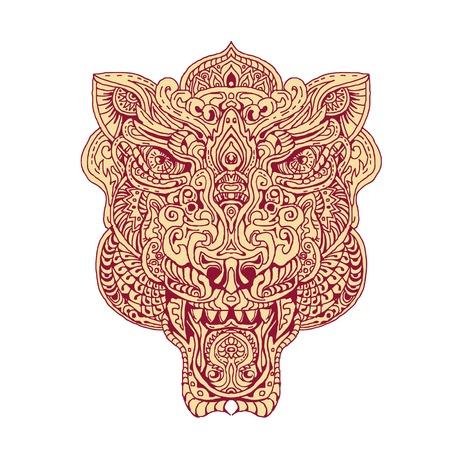 手で図面のスケッチ スタイル曼荼羅を行ってタイガー ヘッドのイラスト。